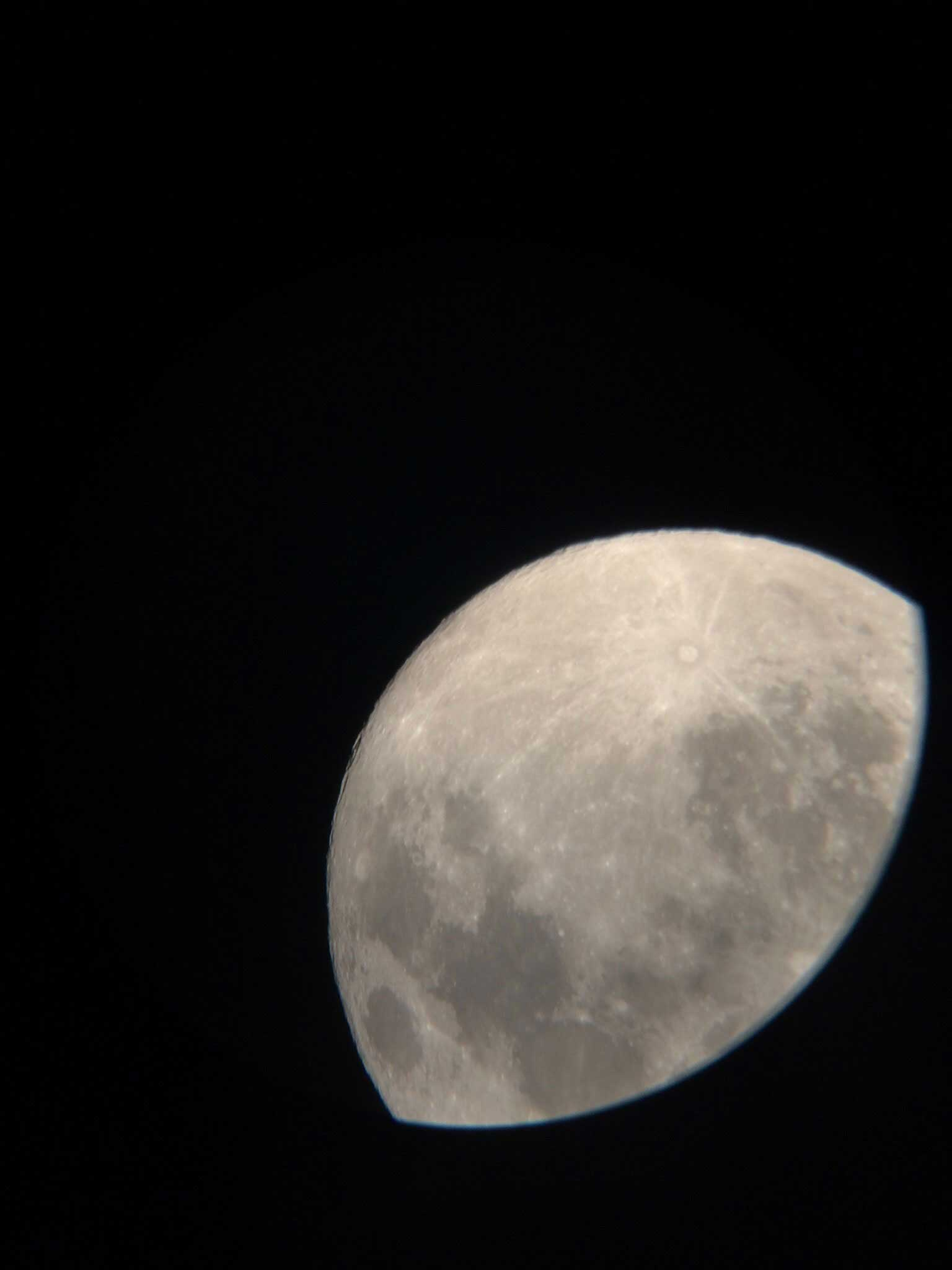 The moon seen through a telescope