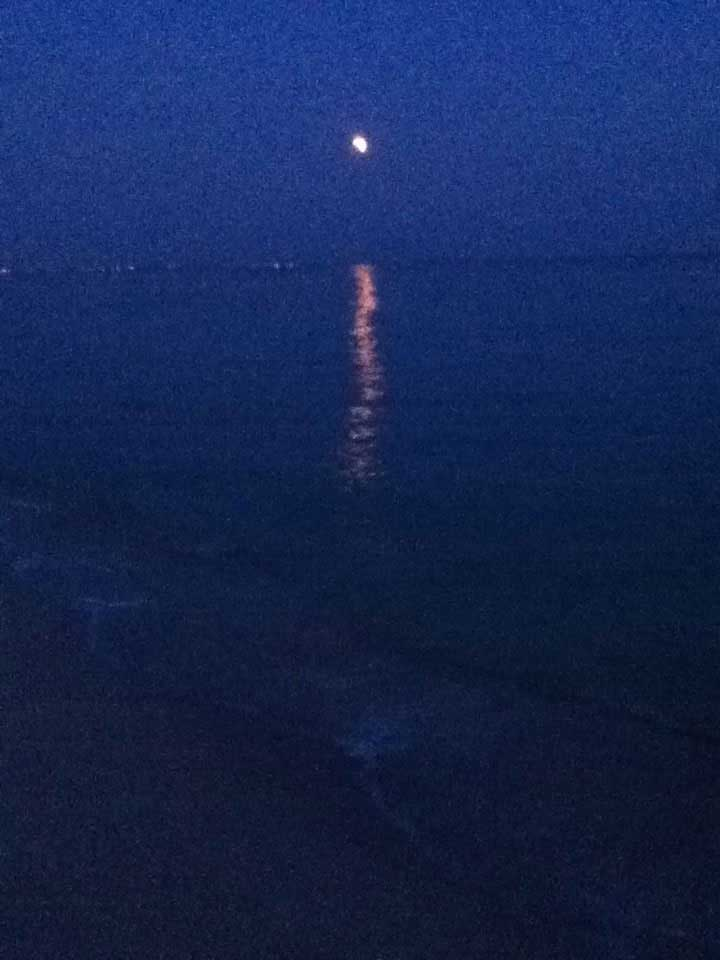 The moon reflected on the sea
